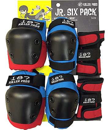 187 Killer Pads Jr. Six Pack almohadillas protectoras en rojo y azul