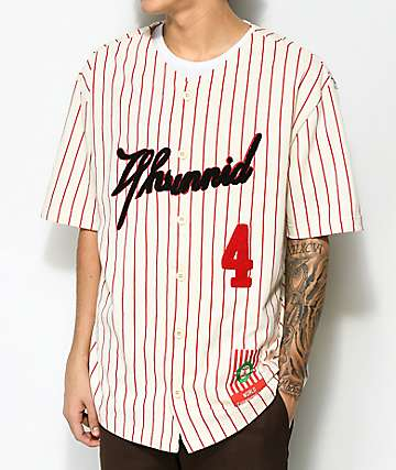 4 Hunnid Cream & Red Pinstripe Baseball Jersey
