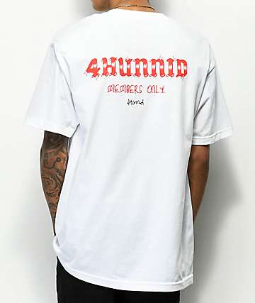 4 Hunnid Members Only White T-Shirt