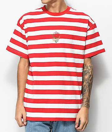 4 Hunnid Rose Red & White Stripe T-Shirt