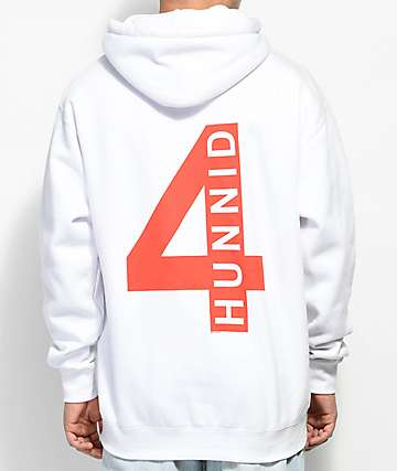 4 Hunnid Triple 4 Logo White Hoodie