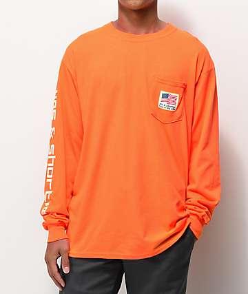 40's & Shorties Paid In The USA camiseta naranja de manga larga