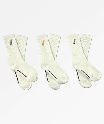40s & Shorties Bottles paquete de 3 calcetines blancos