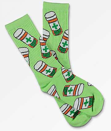 40s & Shorties Cannabis Club Lime Crew Socks