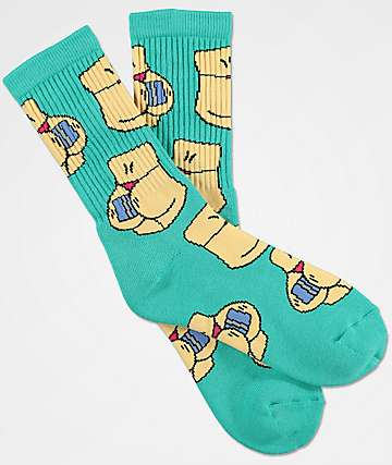 40s & Shorties Credit Card All-Over Teal Crew Socks