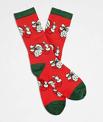 40s & Shorties Sippin Santa Red & Green Crew Socks