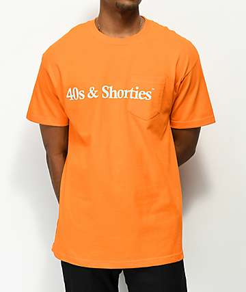 40s & Shorties Text Logo camiseta naranja con bolsillo