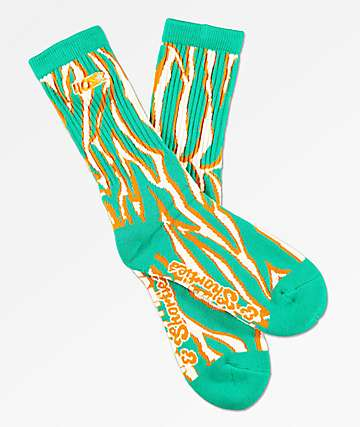 40s & Shorties Tiger Stripe Teal & Orange Crew Socks