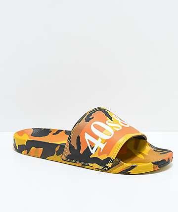 40s & Shorties sandalias de camuflaje naranja