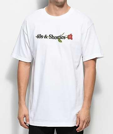 40s & Shorties 40s Text Logo Rose camiseta blanca