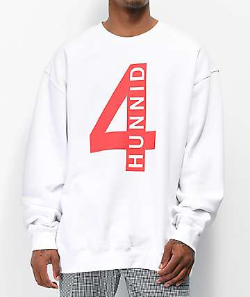 4Hunnid 4Real White Crew Neck Sweatshirt