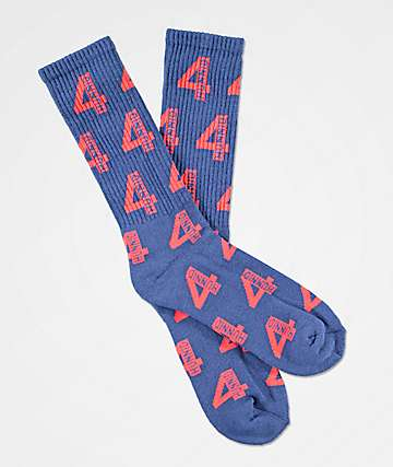 4Hunnid All Over Logo Navy & Red Crew Socks
