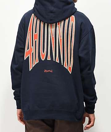 4Hunnid Arch Logo Navy Hoodie