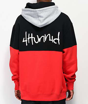 4Hunnid Big Block Black, Red & Grey Hoodie