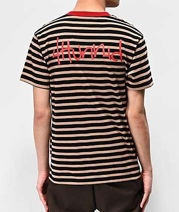 0a119e392 4Hunnid Khaki & Black Striped T-Shirt