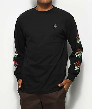 4hunnid La Rosa Black Long Sleeve T Shirt