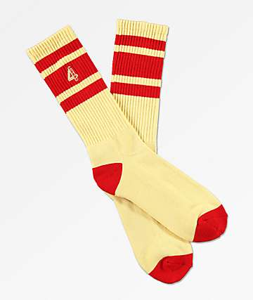 4Hunnid Large 4 Cream & Red Crew Socks