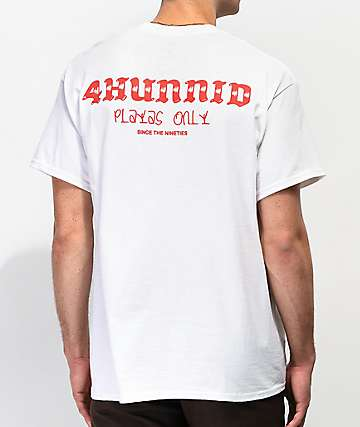 11b673a9 4Hunnid Playas Only White T-Shirt