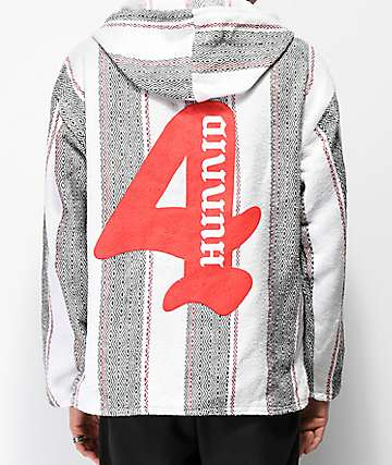 4Hunnid White, Black & Red Poncho