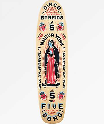 "5Boro Cinco Barrios 7.6"" tabla de skate cruiser en azul y rojo"