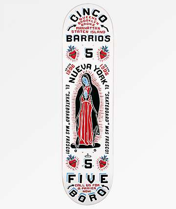 "5Boro Cinco Barrios 8.0"" White Skateboard Deck"