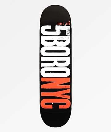 """5Boro Letter Press Black, Red & White 8.25"""" Skateboard Deck"""