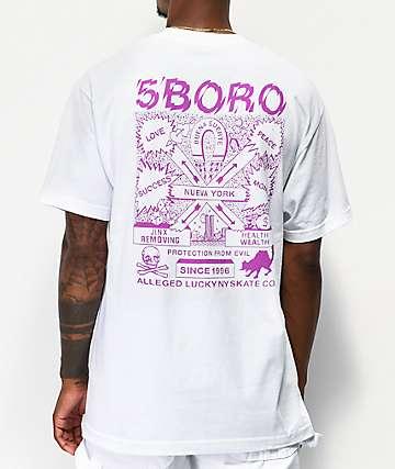 5Boro Lucky NY White & Purple T-Shirt