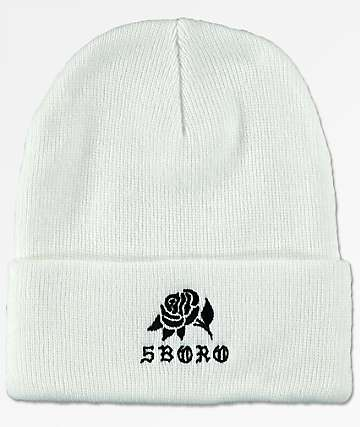 5Boro Rose White Cuff Beanie