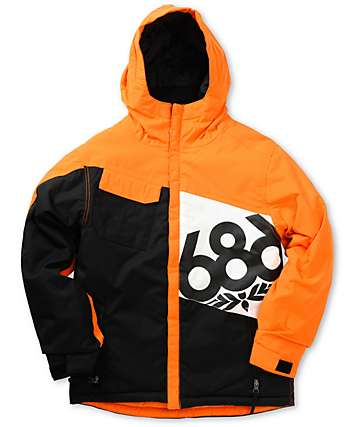 686 Boys Mannual Iconic Insulated Orange 5K Snowboard Jacket e5cd81f20
