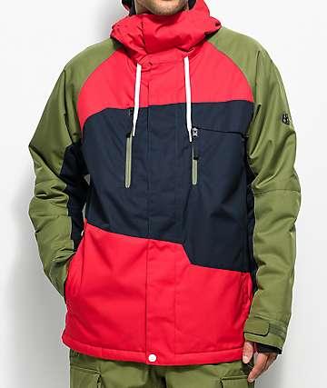 686 Geo 10K chaqueta de snowboard roja y verde