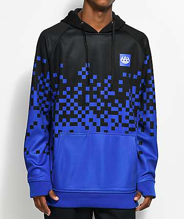 686 Knockout Bonded Black & Blue Tech Fleece Hoodie