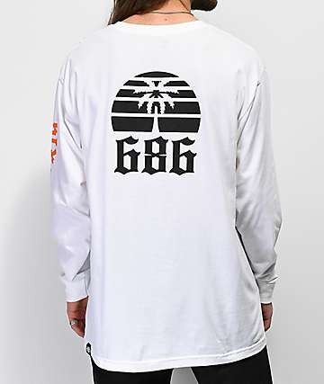686 Paradise White Long Sleeve T-Shirt