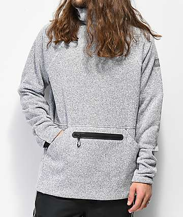 686 White Melange Knit Tech Fleece Hoodie