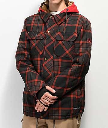 686 Woodland 10K chaqueta de snowboard de tartán roja