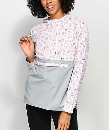 A-Lab Alina Alien Pink & Grey Pullover Windbreaker