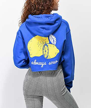 A-Lab Always Sour Crop Blue Hoodie
