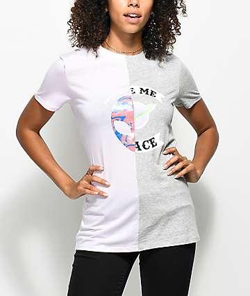 A-Lab Asela camiseta con costura partida en rosa clara y gris