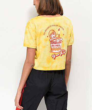 A-Lab Bali Ringer Ra-Men Yellow Tie Dye Crop T-Shirt