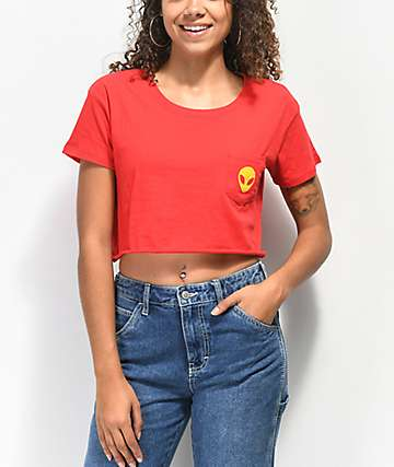 A-Lab Ballina Alien Pocket Red Cropped T-Shirt