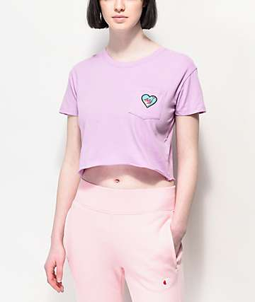 A-Lab Ballina Heart Purple Crop T-Shirt