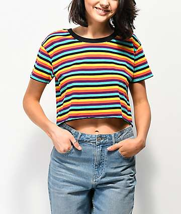 A-Lab Ballina Multicolor Stripe Crop T-Shirt