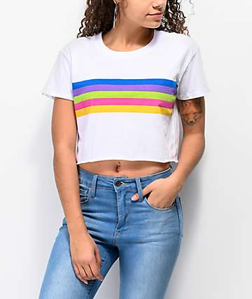 A-Lab Ballina Rainbow Stripe White Crop T-Shirt