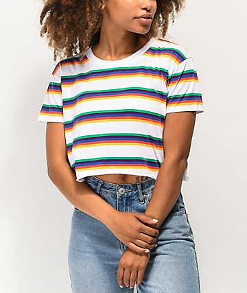 A-Lab Ballina White & Rainbow Stripe Crop T-Shirt
