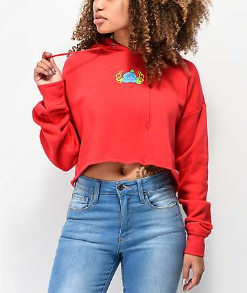 A-Lab Blue Rose Red Crop Hoodie