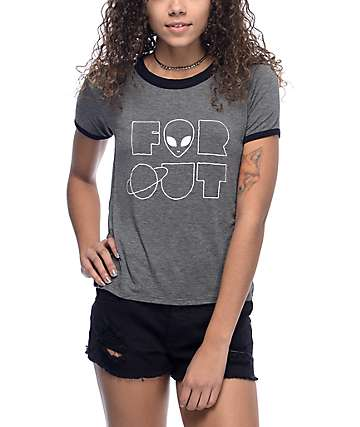 A-Lab Byrl Far Out camiseta ringer en negro y color carbón