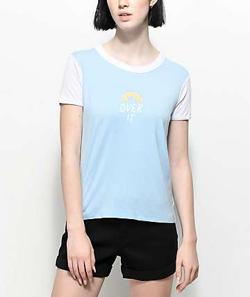 A-Lab Byrl Over It Light Blue & White T-Shirt