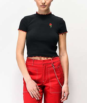 A-Lab Curly Rose Black Crop T-Shirt