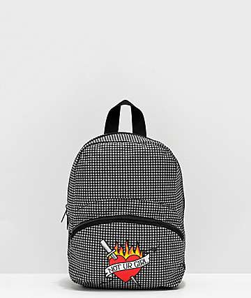 A-Lab Demi Dagger Heart Houndstooth Mini Backpack