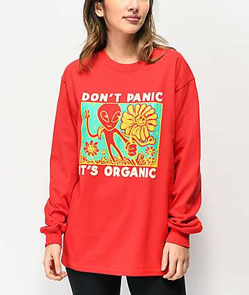 A-Lab Don't Panic Red Long Sleeve T-Shirt
