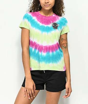 A-Lab Ezra Lucky camiseta rosa azul y verde con efecto tie dye